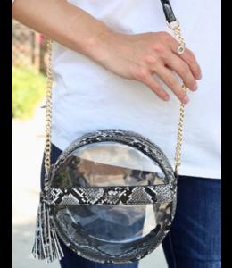 CHW Coco Circular Clear Crossbody Bag with Tassel 12801