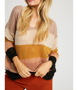 WL Striped Knitted V-Neck Sweater 2494