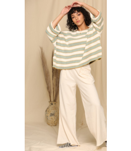 BT Wide Arm Knitted Stripe Tunic Sweater 3589