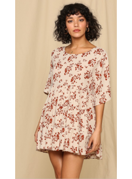 BT Floral Print Baby Doll Tierred Skirt Dress 1543