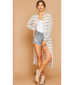 PLC Long Striped Knit Cardigan 73970