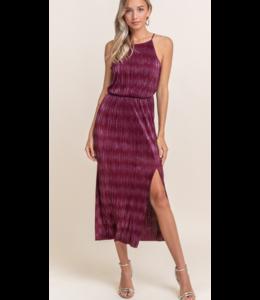 LH Hi Neck Blouson Plisse Dress 96022
