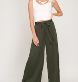 SS Satin Long Pants with Sash 8781