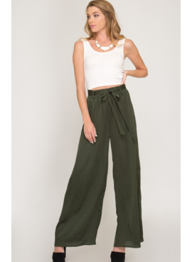 SS Satin Long Pants with Sash 8781