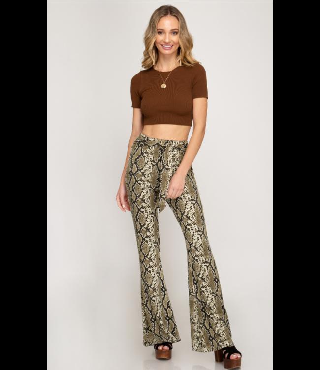 SS Snake Print Flare Pants 1518