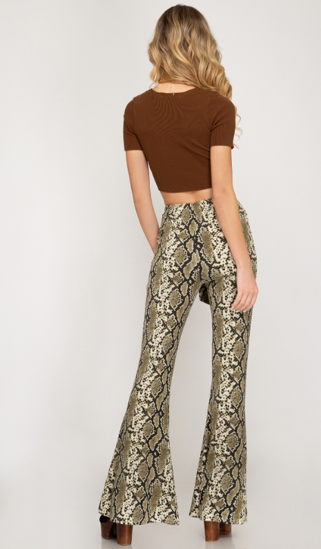 SS Snake Print Flare Pants 1518