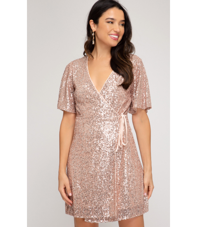 SS Sequin Wrap Dress 2239