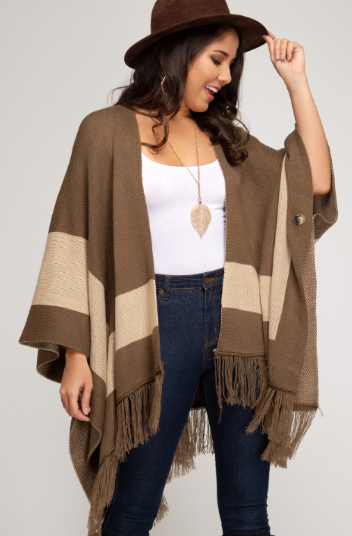 SS Open Front Poncho with Fringe Hem 2337