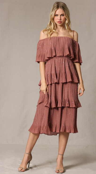 BT Crinkle Chiffon Layered Cha-Cha Dress 3703