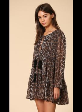 BT Leopard Print Dress with Tierred Dress 3739