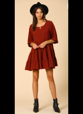 BT Crinkle Gauze Tiered Baby Doll Dress 3813