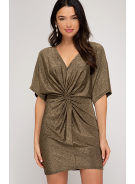 SS Batwigng Sleeve Metallic Dress with Front Twist 8702