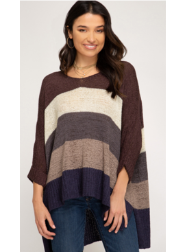 SS Cuff Sleeve Blocked Knit Sweater 1066