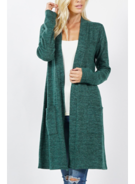 ZA Brushed Melange Sweater Longline Cardigan 2433