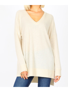 ZA Brushed Thermal Waffle V-Neck Sweater 2589