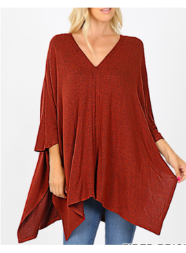ZA Brushed Melange Poncho Oversized 2464