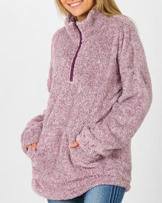 ZA Melange Faux Fur Half Zip Pullover 2772