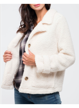bp Button Detail Lapel Sherpa Jacket 5281