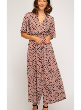 SS Surplice Print Jumpsuit with Smocked Waistband 2465