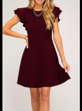 SS Flounce Sleeve Heavy Knit Dress 2221