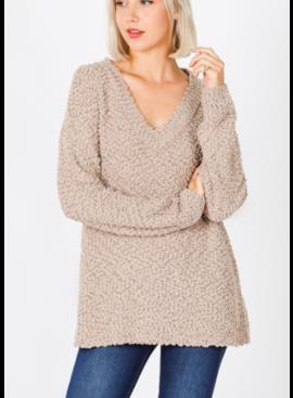 ZA Popcorn V-Neck Sweater 2733
