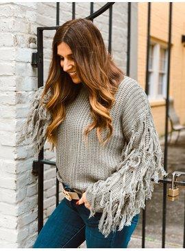 FT Pullover Sweater Sleeve Fringe 297