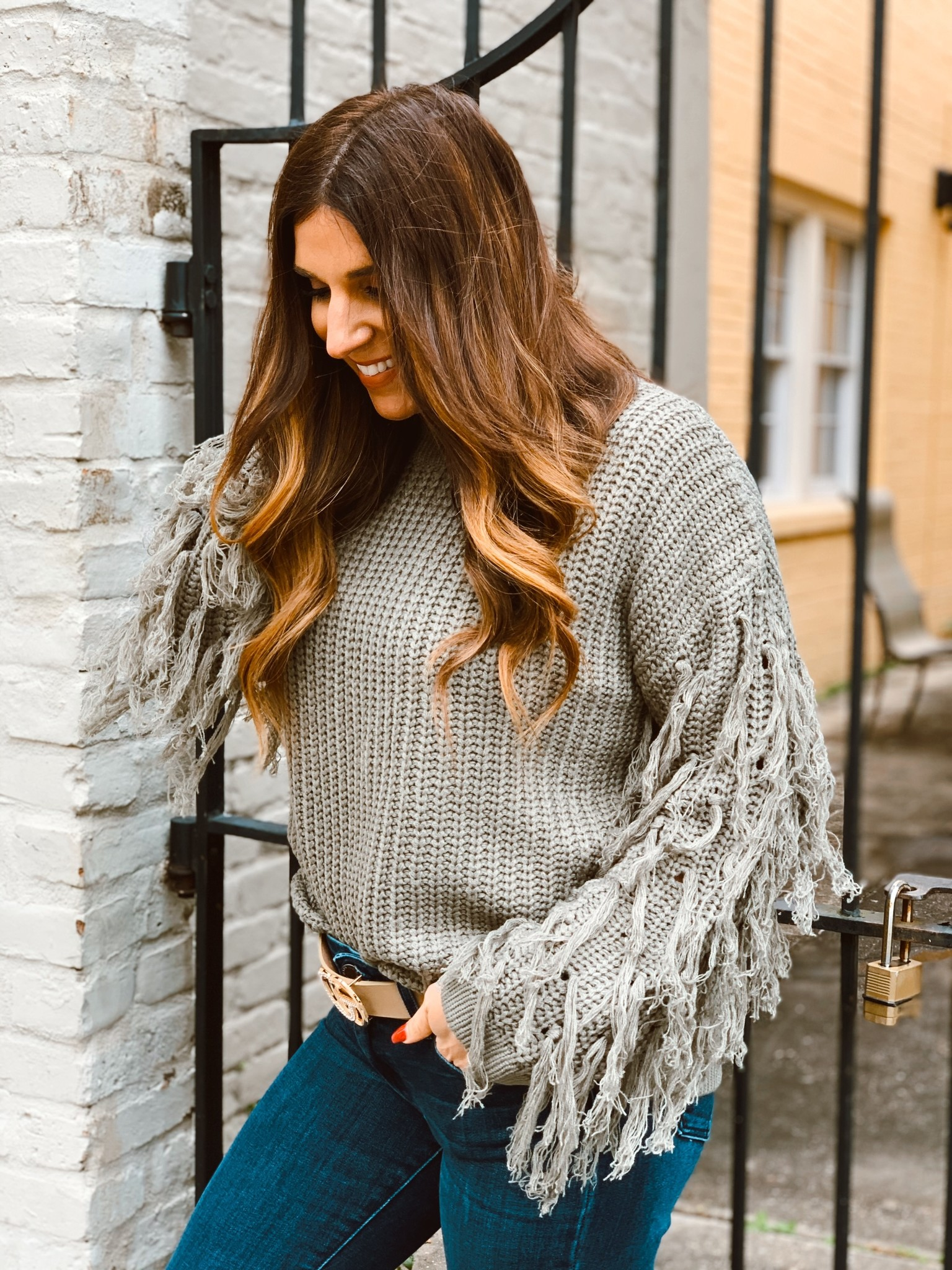 FT Pullover Sweater Sleeve Fringe 297