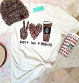SS Peace Love Starbucks Tee