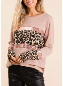 BB Sequin Leopard Block Sweater 1682