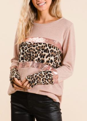 BB Sequin Leopard Block Sweater 1682
