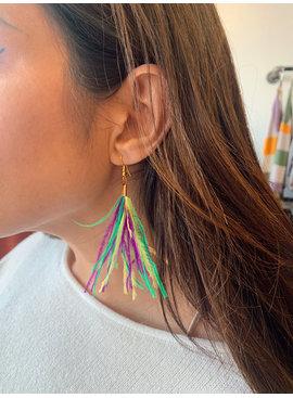 SS Feather Tassel Earrings