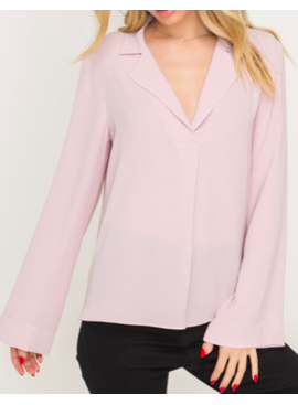 LSH Notched Lapel Bell Sleeve Blouse 14733
