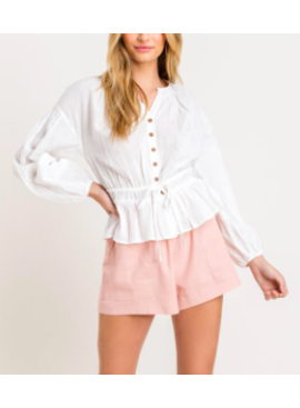 LSH Button Ruched Peasant Top 14469