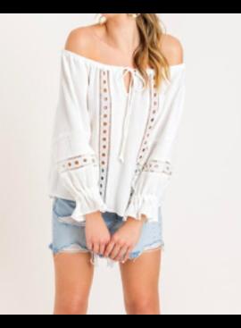 LSH Off The Shoulder Crochet Lace Tunic 14513
