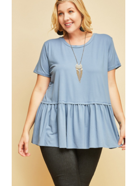 ETO Round Neck Peplum Top 3201
