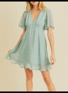 IL Flower Flutter Sleeve Dress 2384