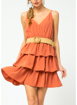 ETO Belted Tiered Ruffle Dress 14193
