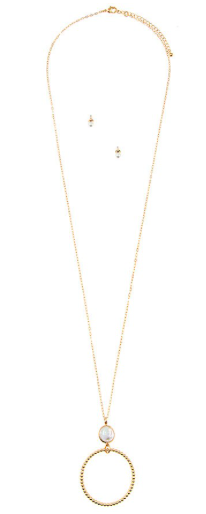 JA Circle Necklace with Pearl Detail 183899