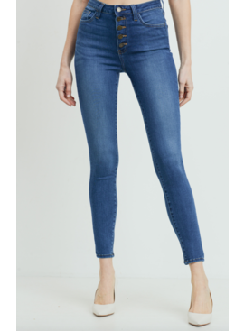 JBD High Rise Button Down Skinny Jeans 254