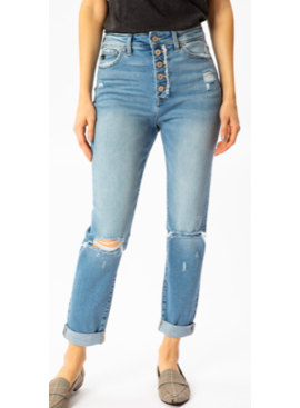 KC High Rise Cuffed Mom Jeans 8580