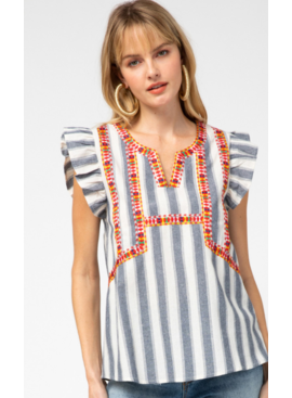 ETO Striped Embroidered Top 13580