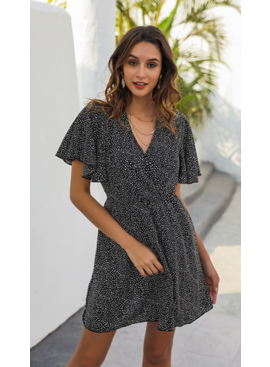 LC Flowy V Neck Dalmation Dress 0361