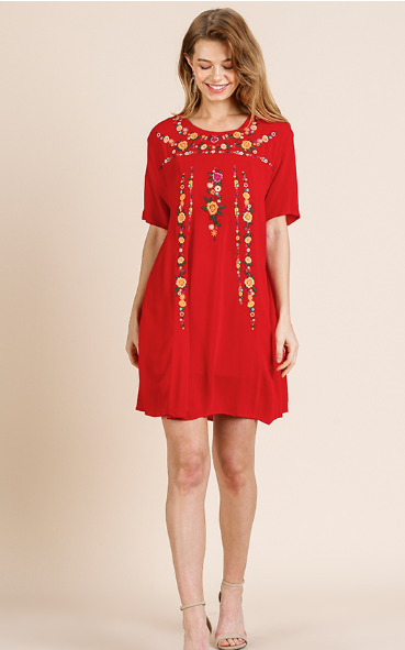 UM Floral Embroidered Dress 0078