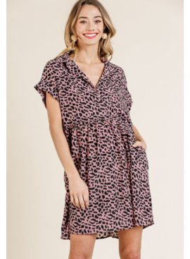 Umgee Animal Print Folded Sleeve Collared Dress 5516