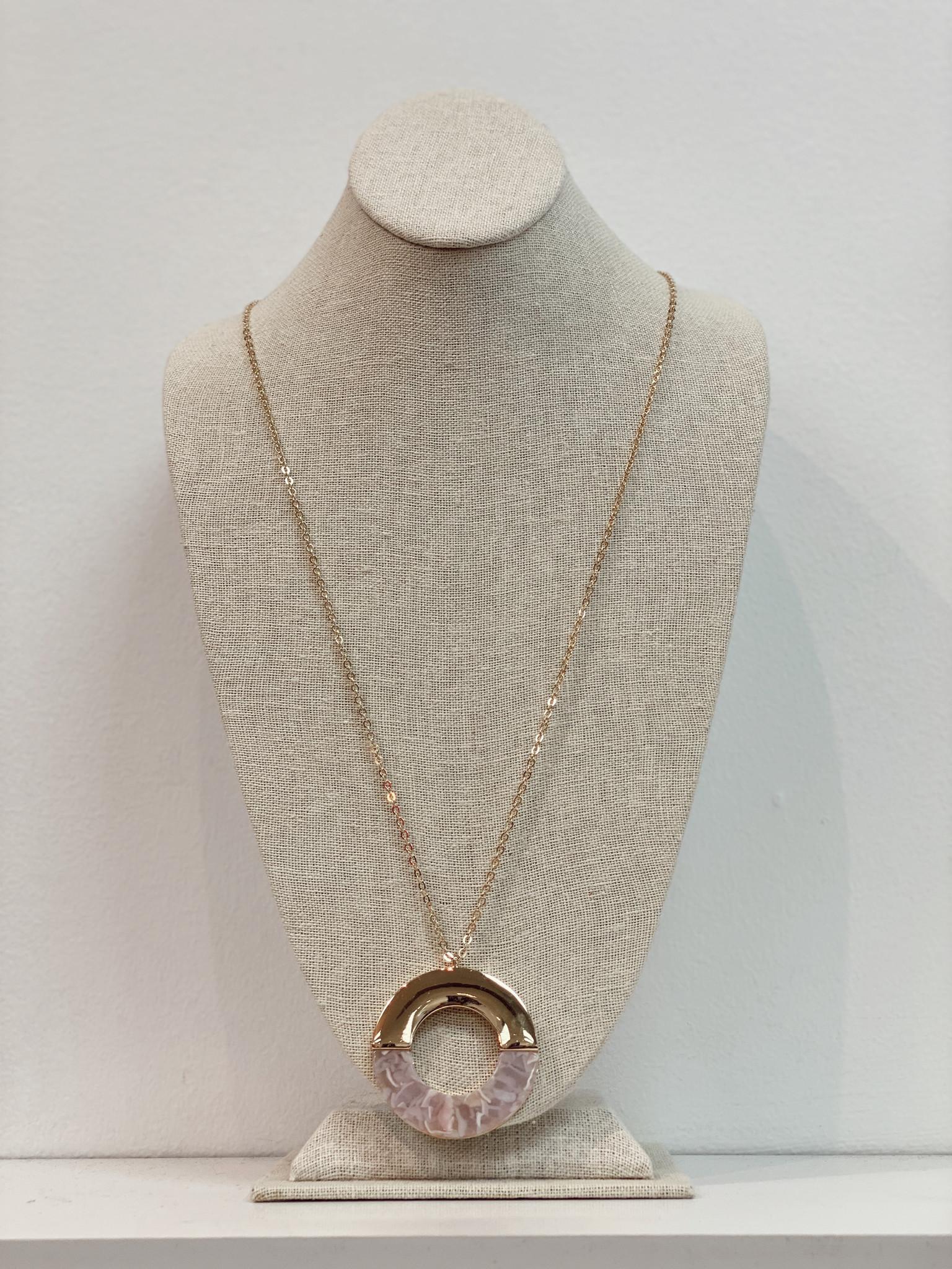 JA Half Tortoise Half Gold Circle Necklace 6431