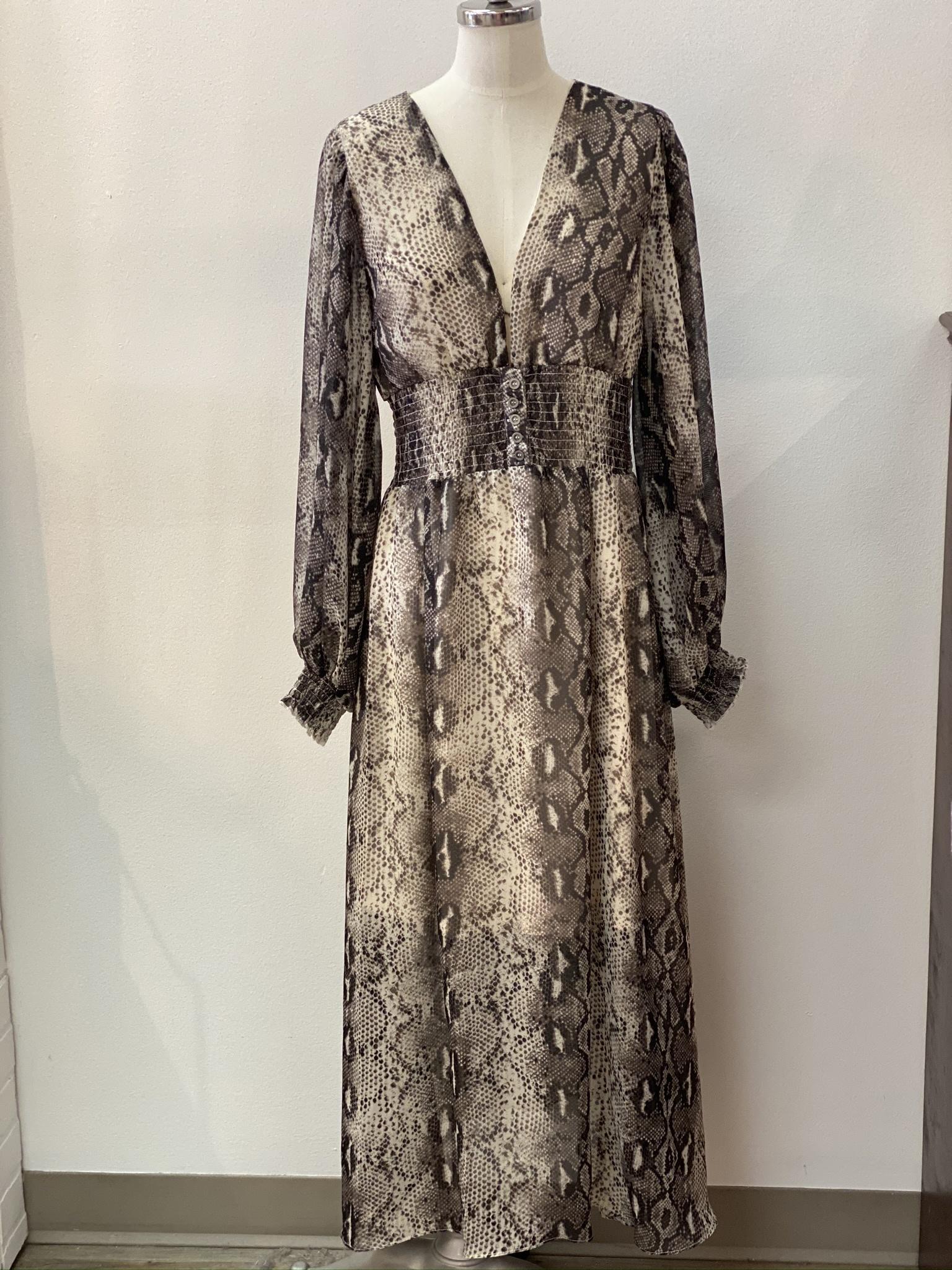 FT Snake Print Mid Length Dress 372