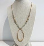 JA Beaded Long Oval Necklace 1674