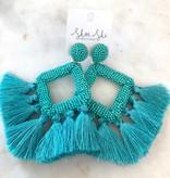JS Beaded Diamond Shape Tassel Earrings