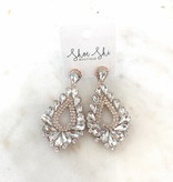 apc Crystal Rhinestone Teardrop Clip On Earrings 2141