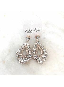 apc Crystal Rhinestone Teardrop Clip On Earrings 2141